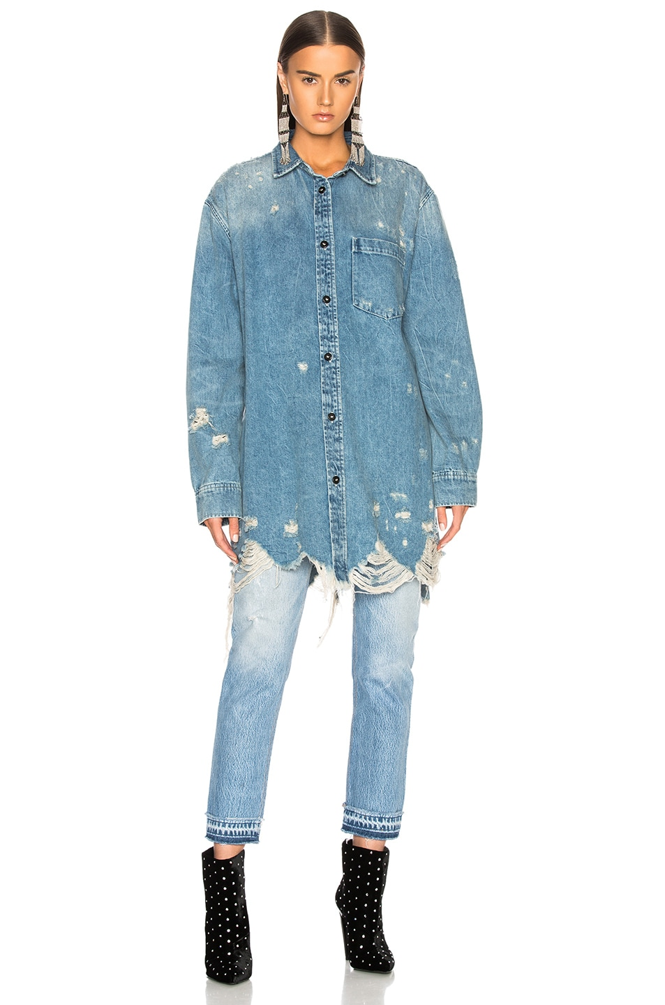 Image 2 of Alexander Wang Oversized Shirt Jacket in Vintage Light Indigo