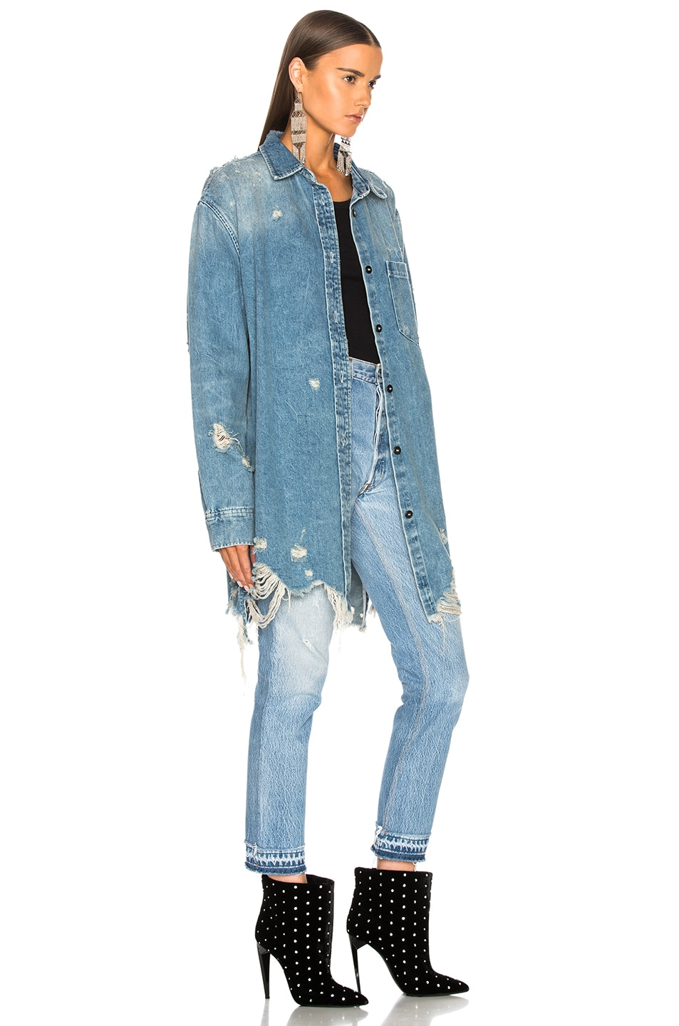 Image 3 of Alexander Wang Oversized Shirt Jacket in Vintage Light Indigo