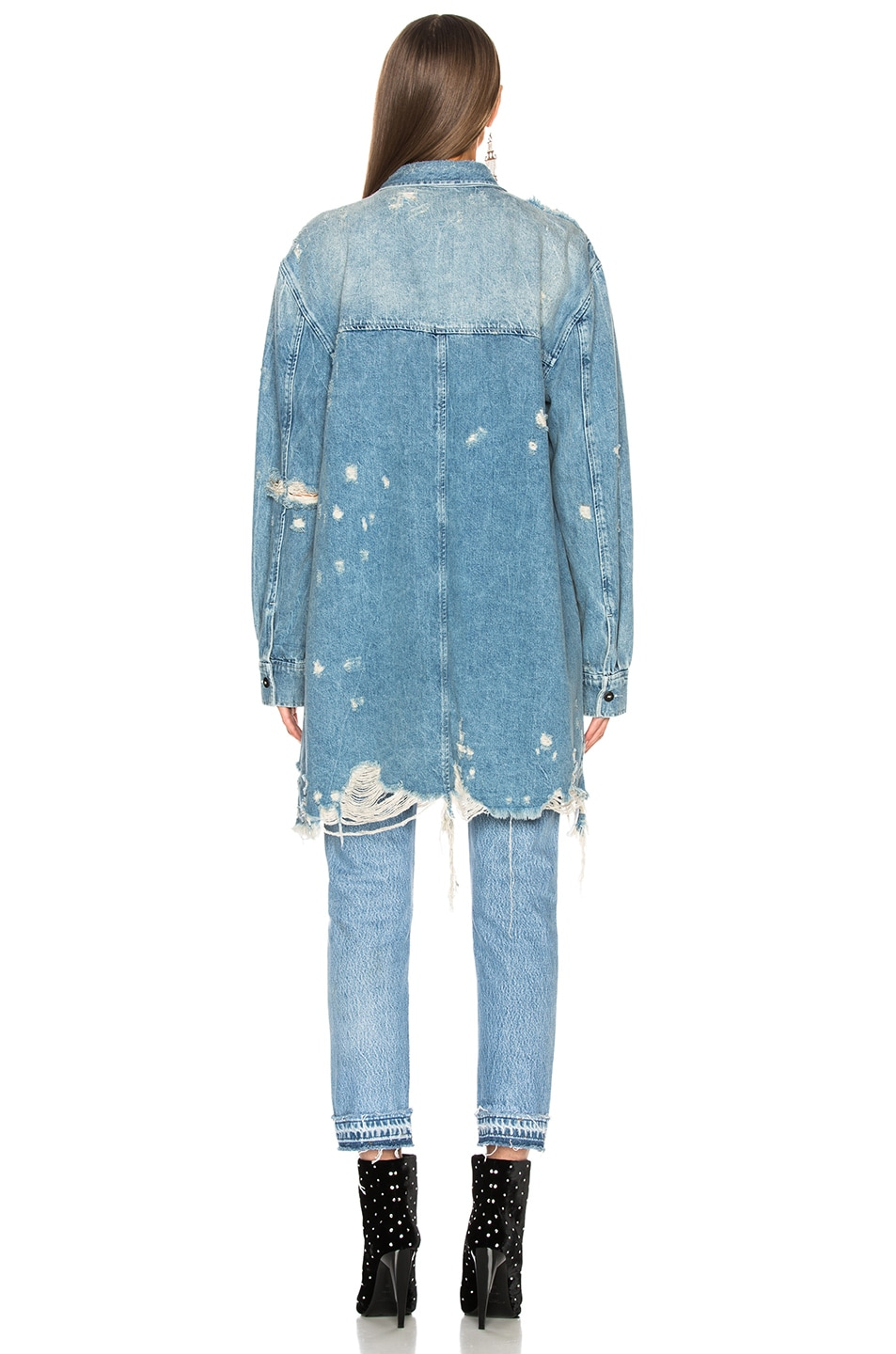 Image 4 of Alexander Wang Oversized Shirt Jacket in Vintage Light Indigo