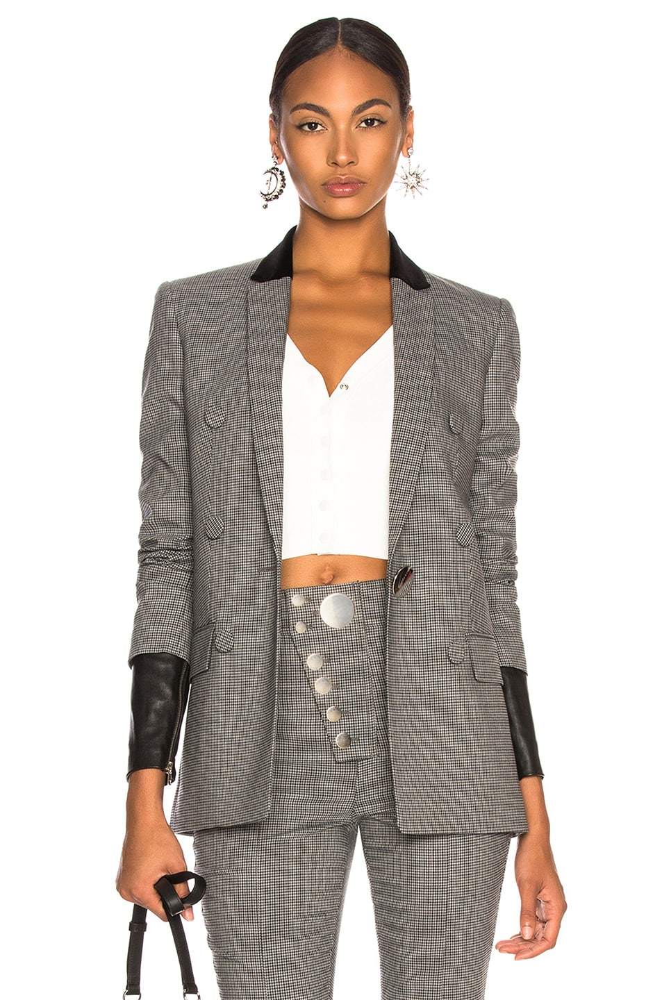 Image 1 of Alexander Wang Double Breasted Notch Blazer in Grey Multi