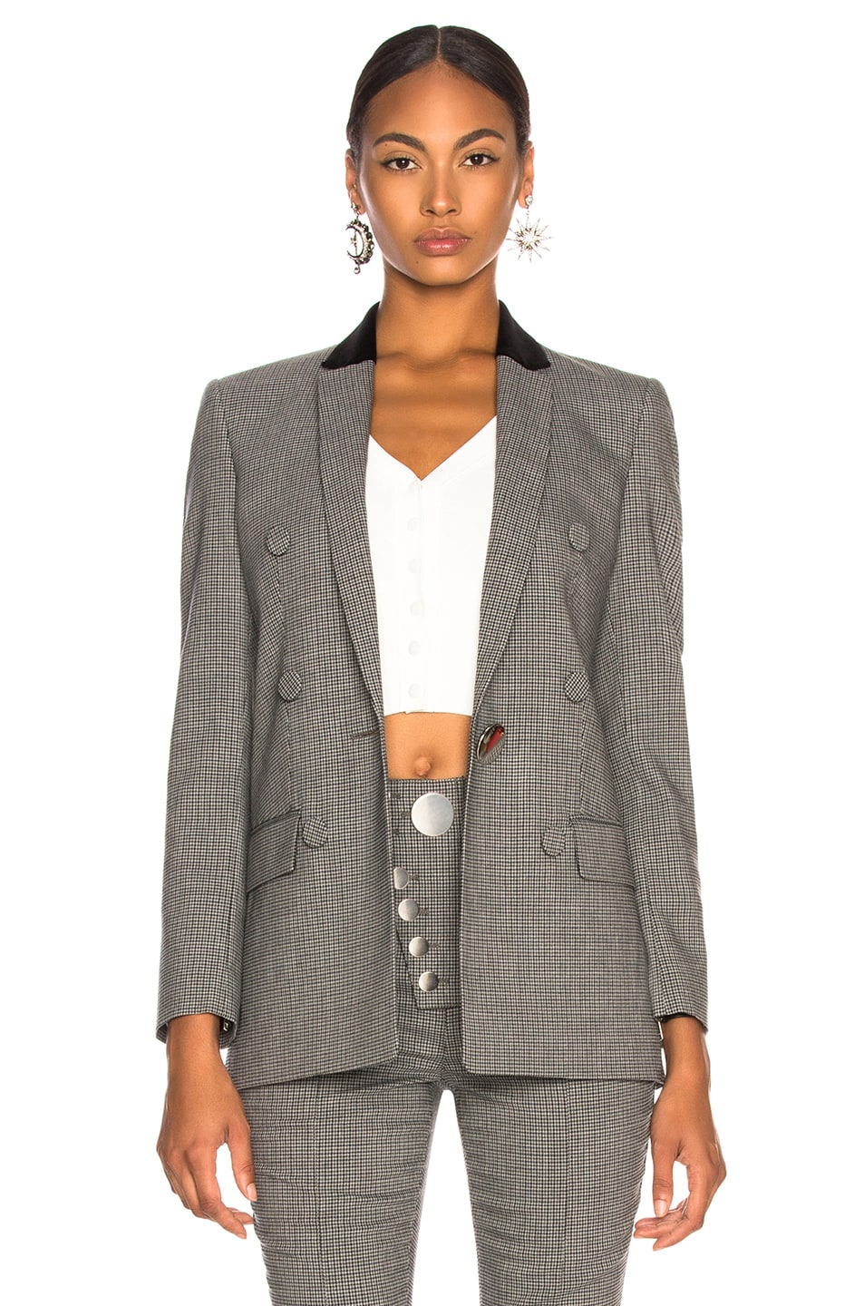 Image 2 of Alexander Wang Double Breasted Notch Blazer in Grey Multi