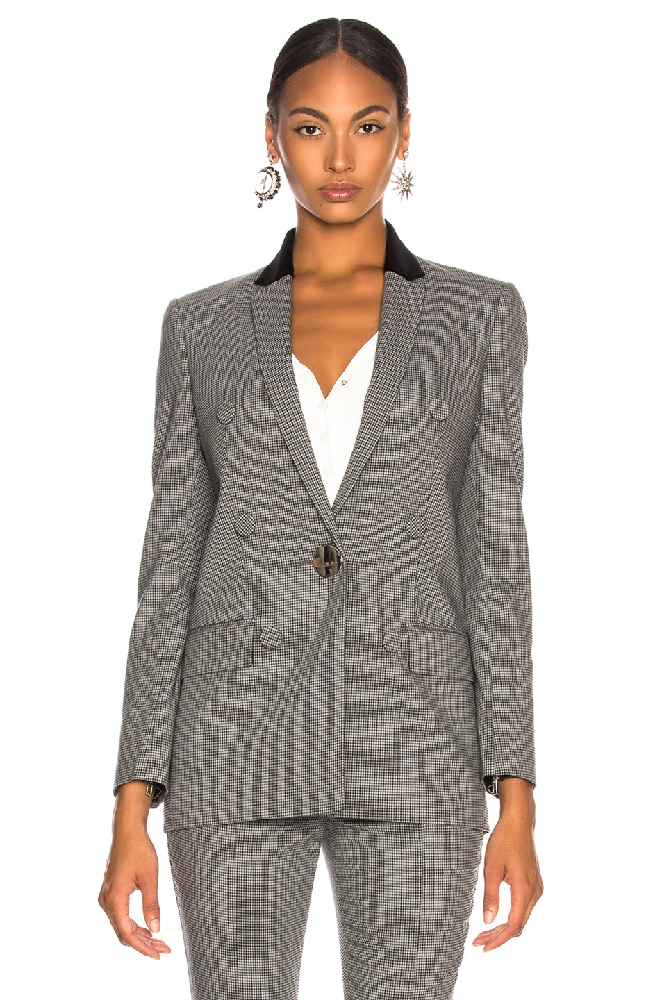 Image 3 of Alexander Wang Double Breasted Notch Blazer in Grey Multi
