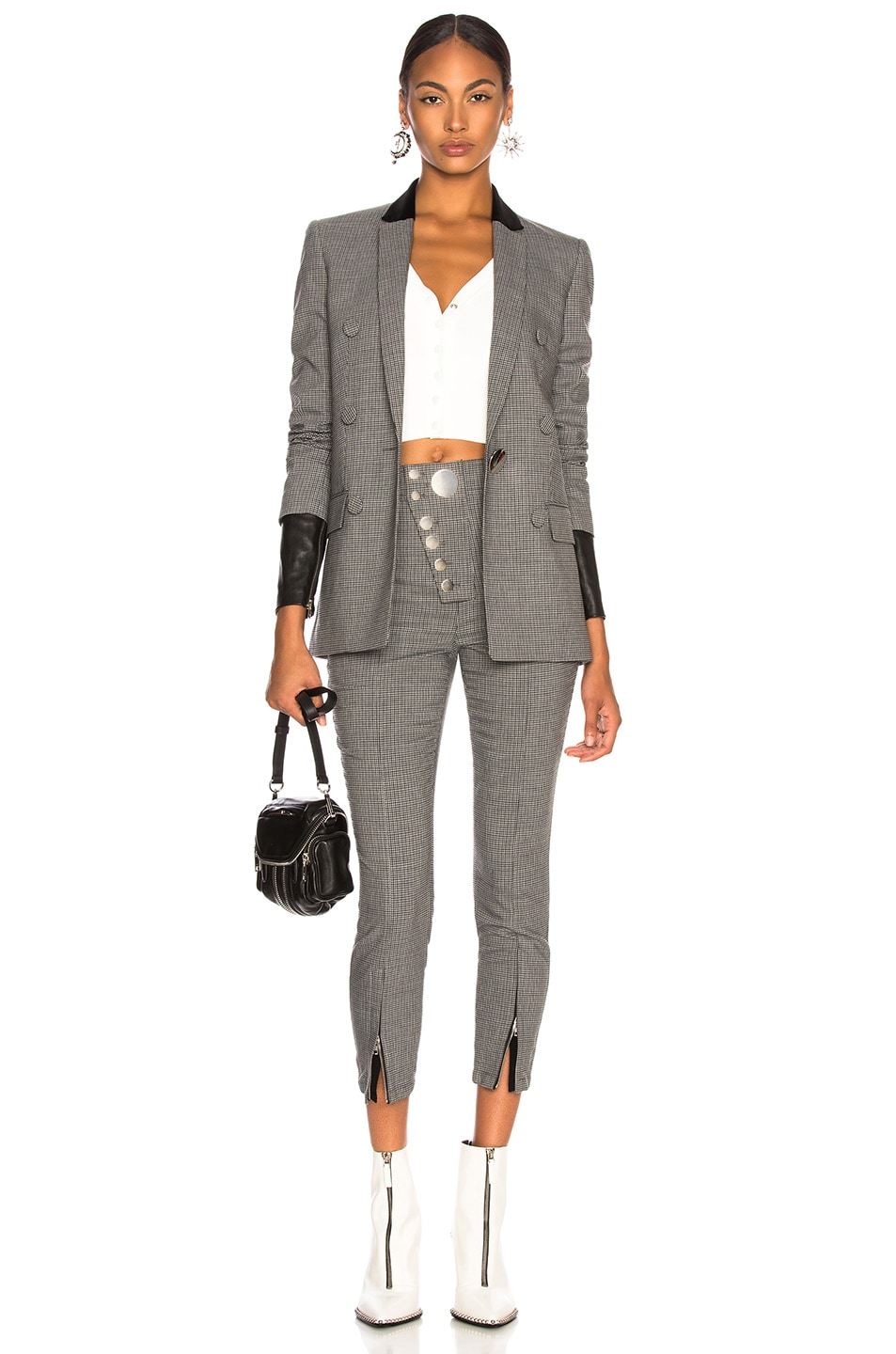 Image 6 of Alexander Wang Double Breasted Notch Blazer in Grey Multi