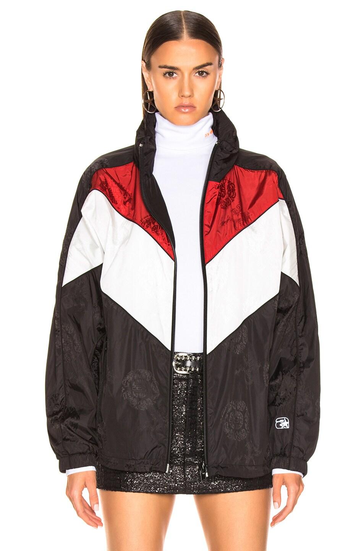 Image 2 of Alexander Wang Concealed Hood Windbreaker in Black, White & Red