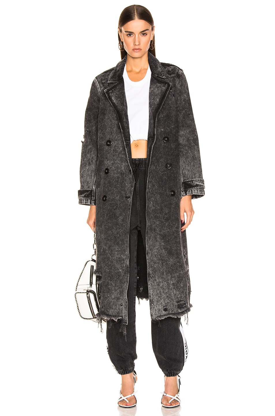 Image 1 of Alexander Wang Trench Coat in Marbled Dark Grey