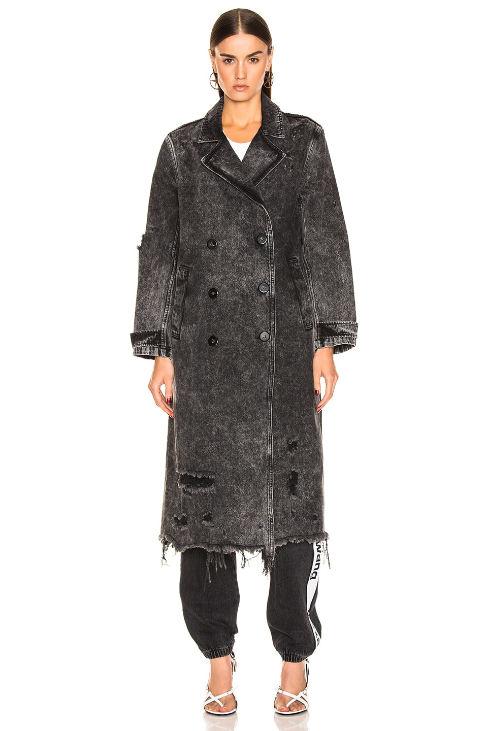 Image 2 of Alexander Wang Trench Coat in Marbled Dark Grey