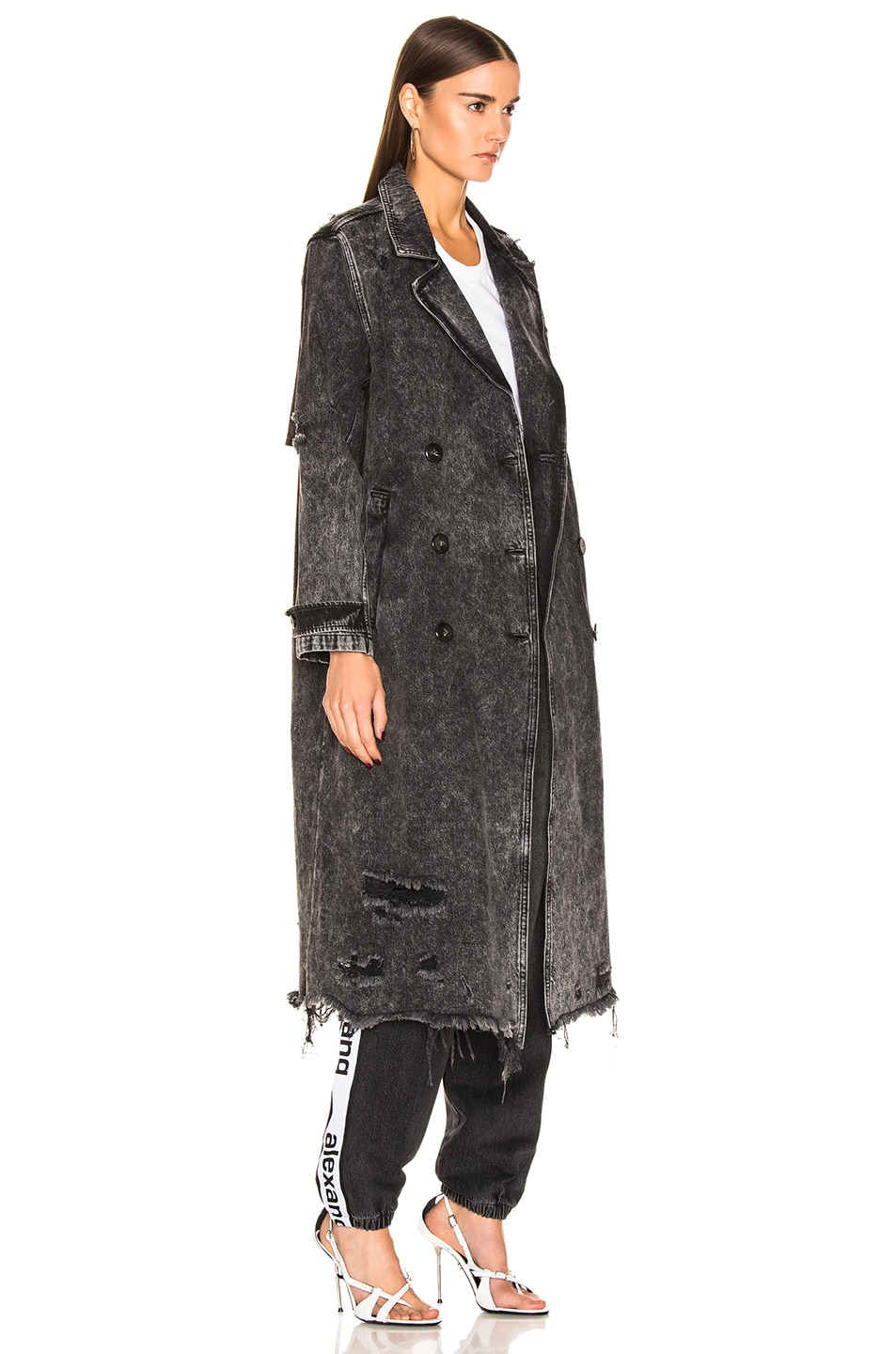 Image 3 of Alexander Wang Trench Coat in Marbled Dark Grey