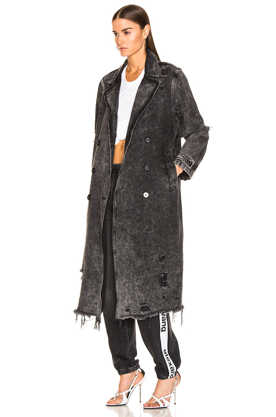 Image 4 of Alexander Wang Trench Coat in Marbled Dark Grey