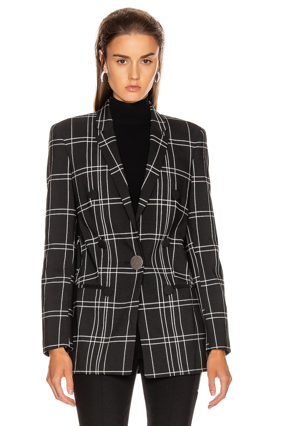 Image 2 of Alexander Wang Peaked Lapel Blazer with Leather Sleeves in Black & White Windowpane