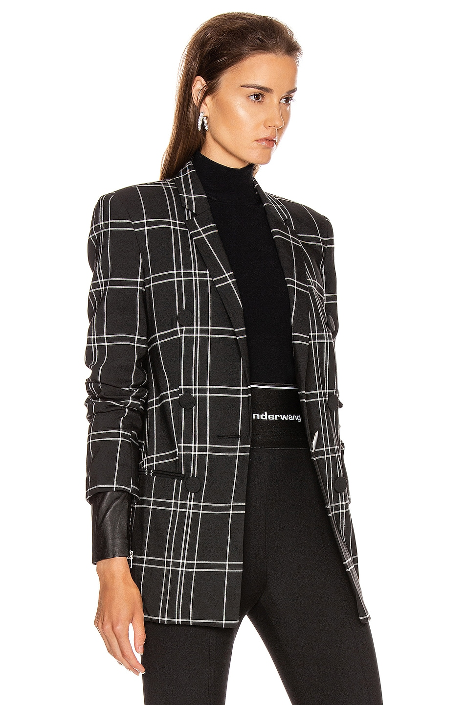 Image 3 of Alexander Wang Peaked Lapel Blazer with Leather Sleeves in Black & White Windowpane