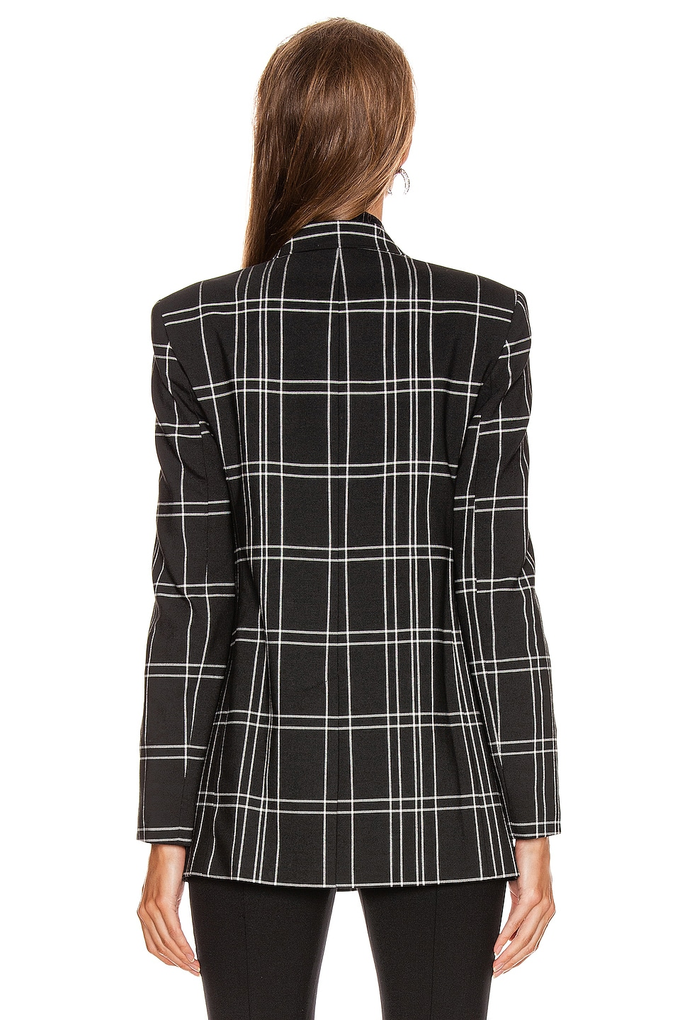 Image 4 of Alexander Wang Peaked Lapel Blazer with Leather Sleeves in Black & White Windowpane
