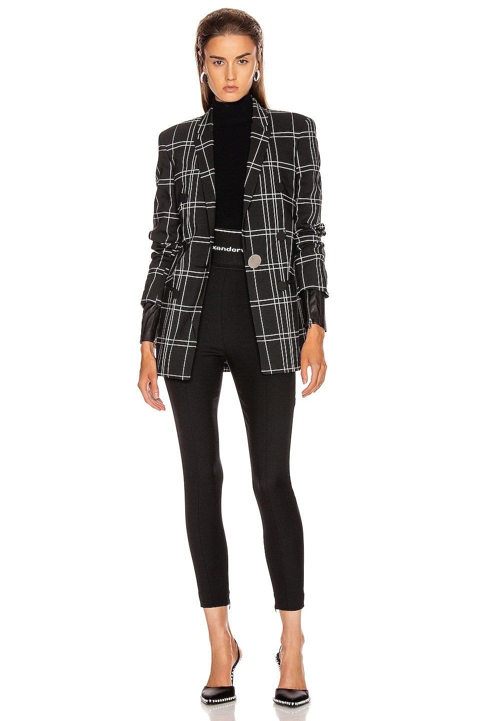 Image 5 of Alexander Wang Peaked Lapel Blazer with Leather Sleeves in Black & White Windowpane