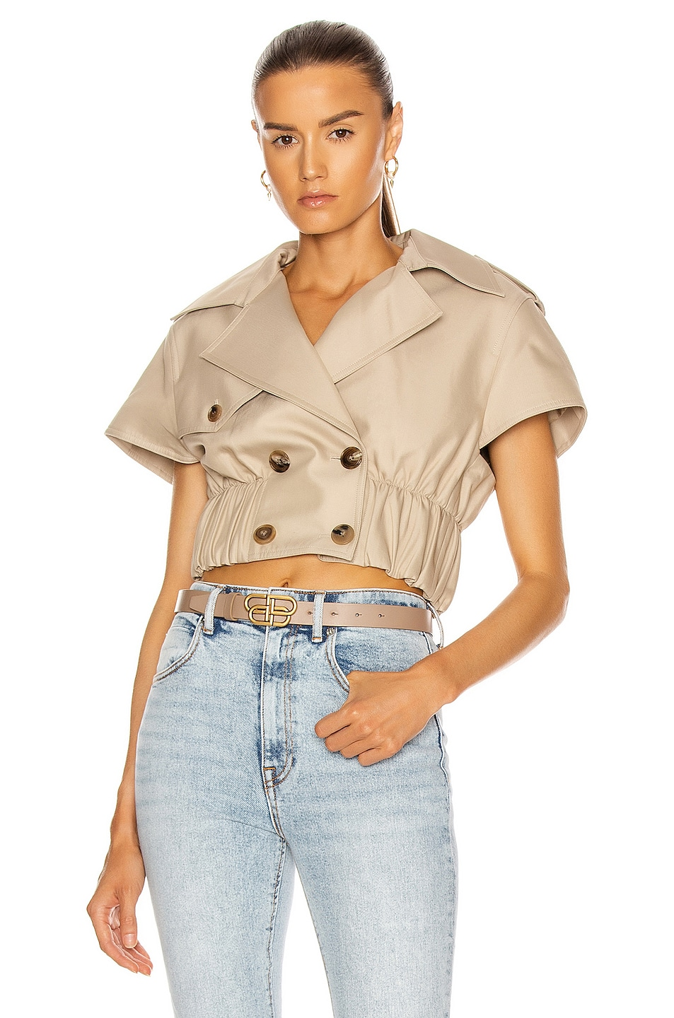 Image 1 of Alexander Wang Cropped Shirt Trench Jacket in Stone