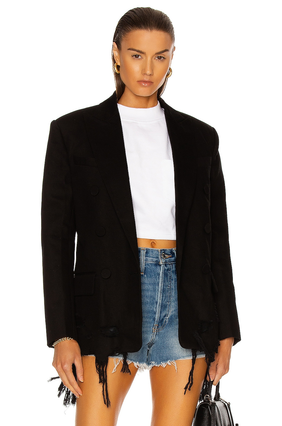 Image 1 of Alexander Wang Frayed Double Breasted Denim Blazer in Black