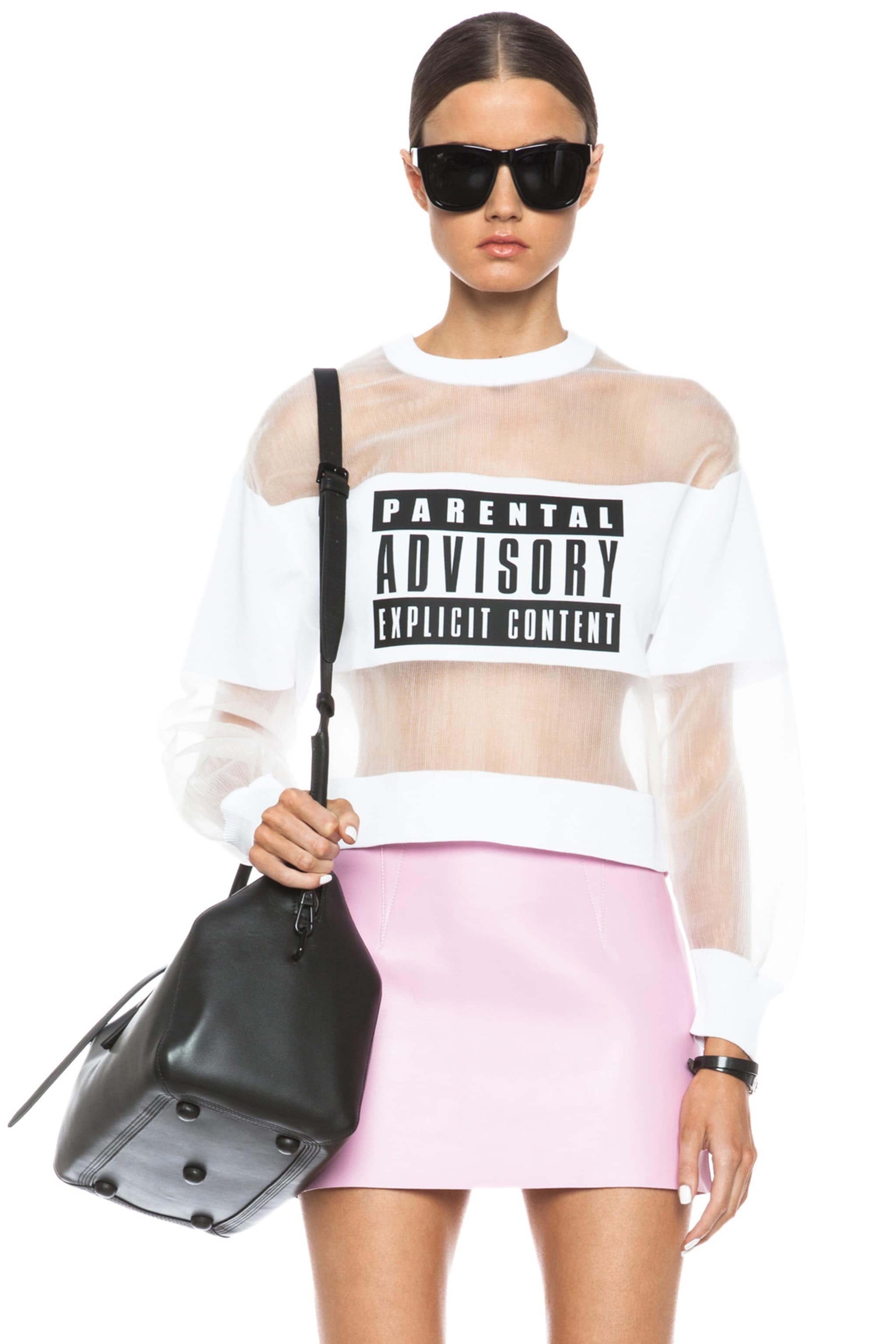 Image 1 of Alexander Wang Parental Advisory Viscose-Blend Sweatshirt in Peroxide