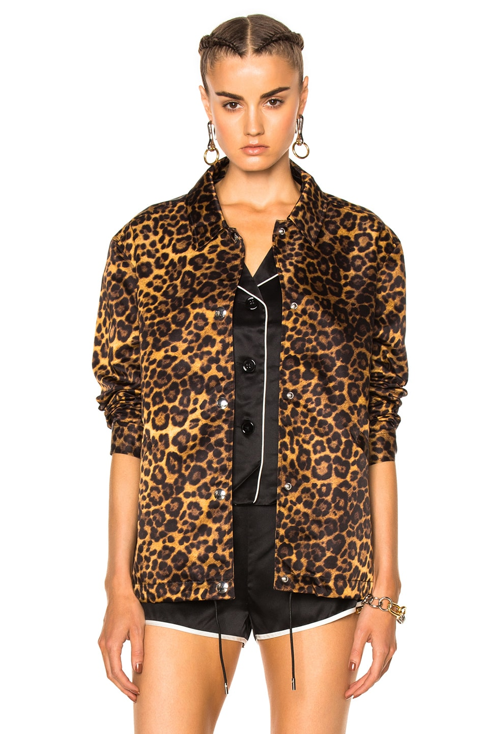 6947c5156234 Image 1 of Alexander Wang Embroidered Patch Jacket in Leopard