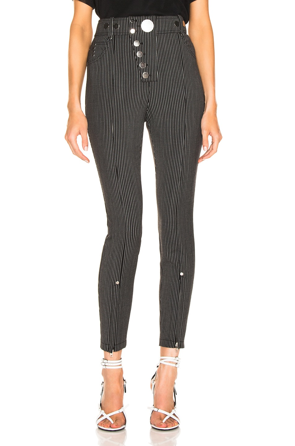 Image 1 of Alexander Wang High Waisted Snapdetail Legging in Black