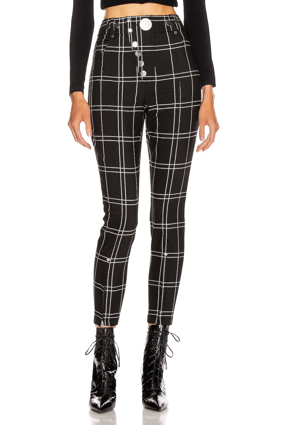 Image 1 of Alexander Wang Front Snap Legging in Black & White Windowpane