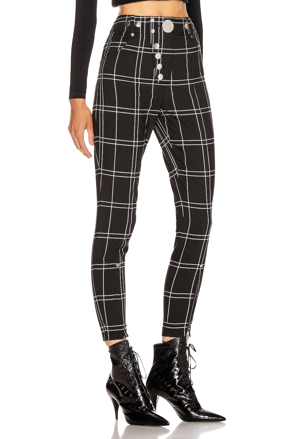 Image 2 of Alexander Wang Front Snap Legging in Black & White Windowpane