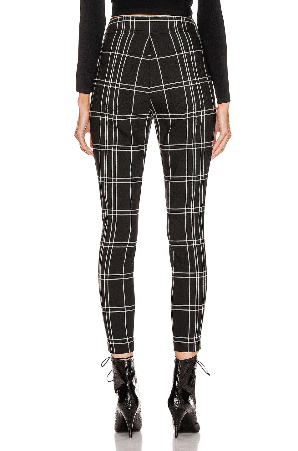 Image 3 of Alexander Wang Front Snap Legging in Black & White Windowpane