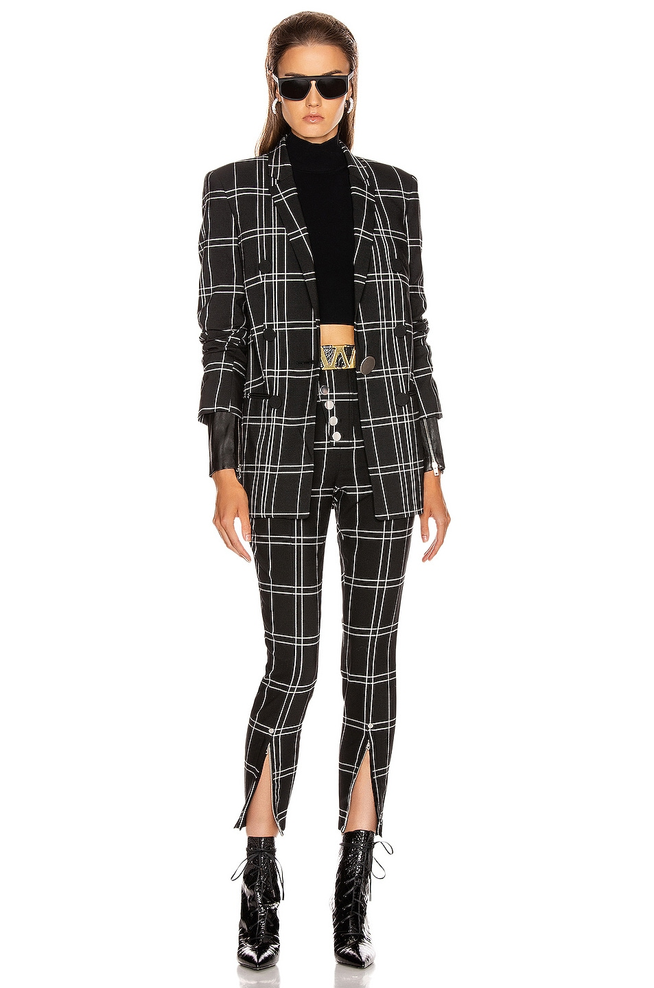 Image 4 of Alexander Wang Front Snap Legging in Black & White Windowpane