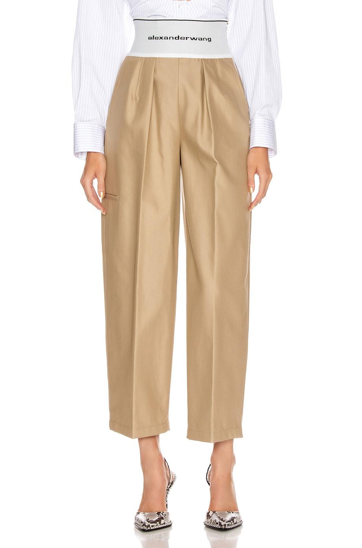 Image 1 of Alexander Wang Elastic Logo Waist Trouser in Trench