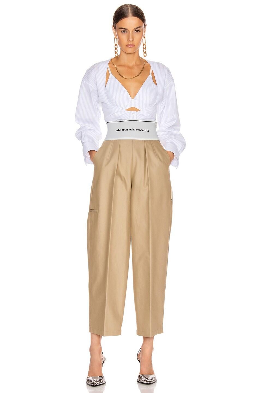 Image 5 of Alexander Wang Elastic Logo Waist Trouser in Trench