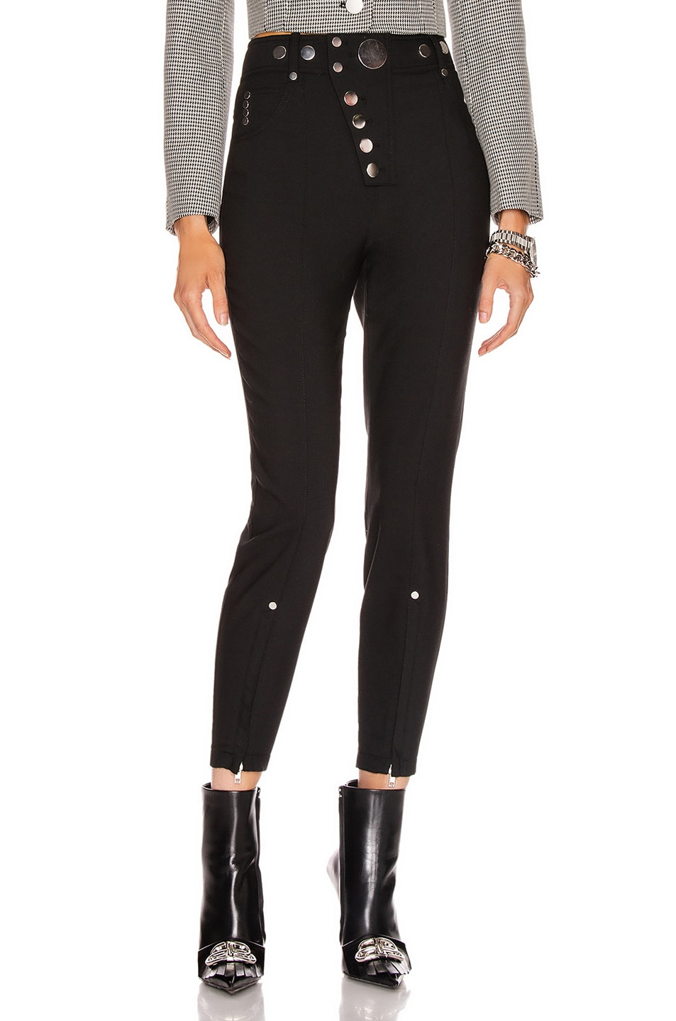 Image 1 of Alexander Wang High Waisted Snap Front Legging in Black