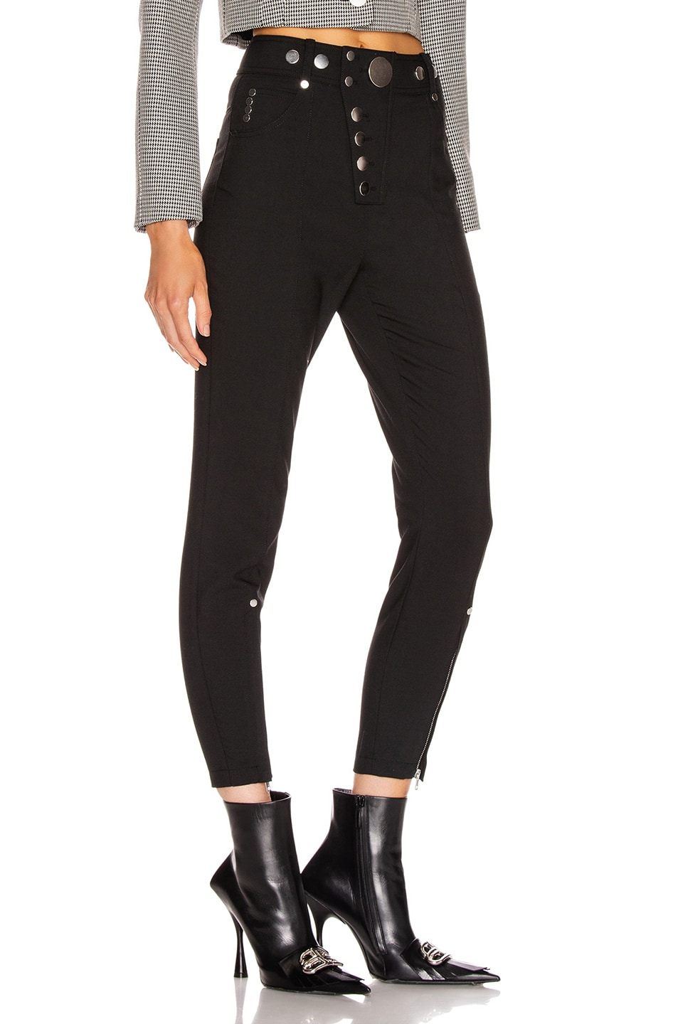 Image 2 of Alexander Wang High Waisted Snap Front Legging in Black