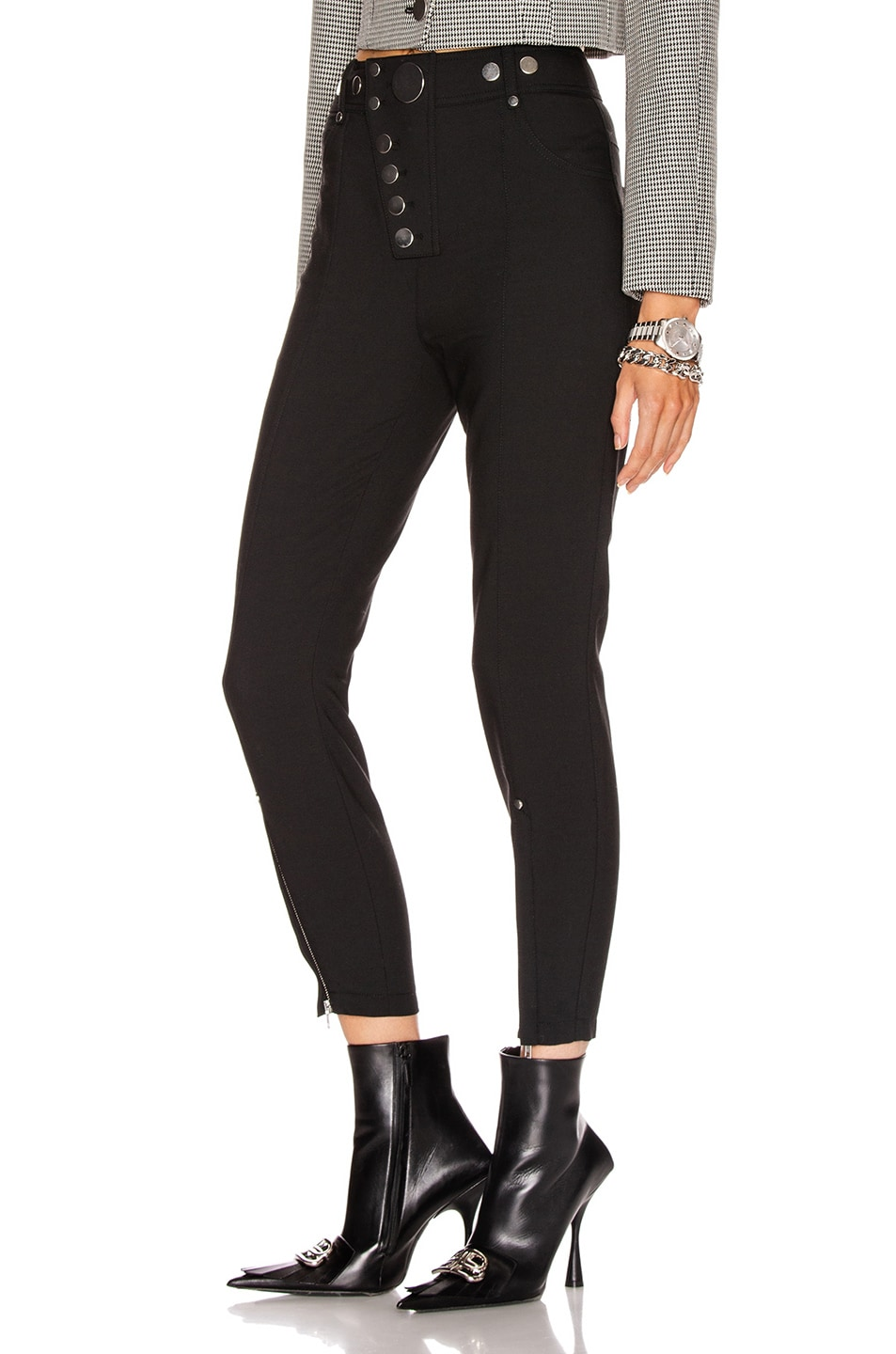 Image 3 of Alexander Wang High Waisted Snap Front Legging in Black
