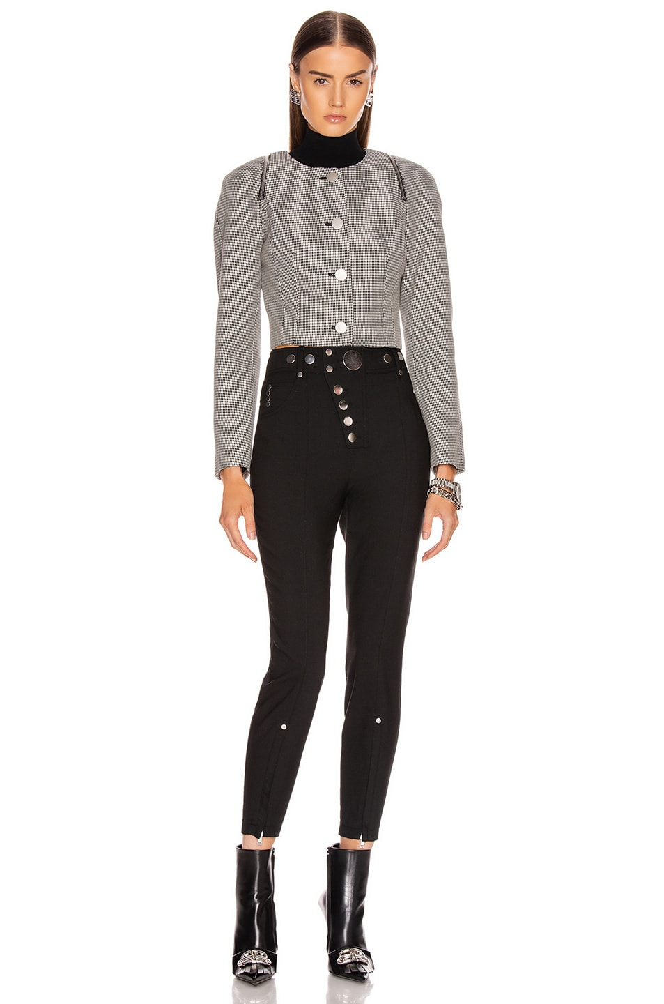 Image 5 of Alexander Wang High Waisted Snap Front Legging in Black