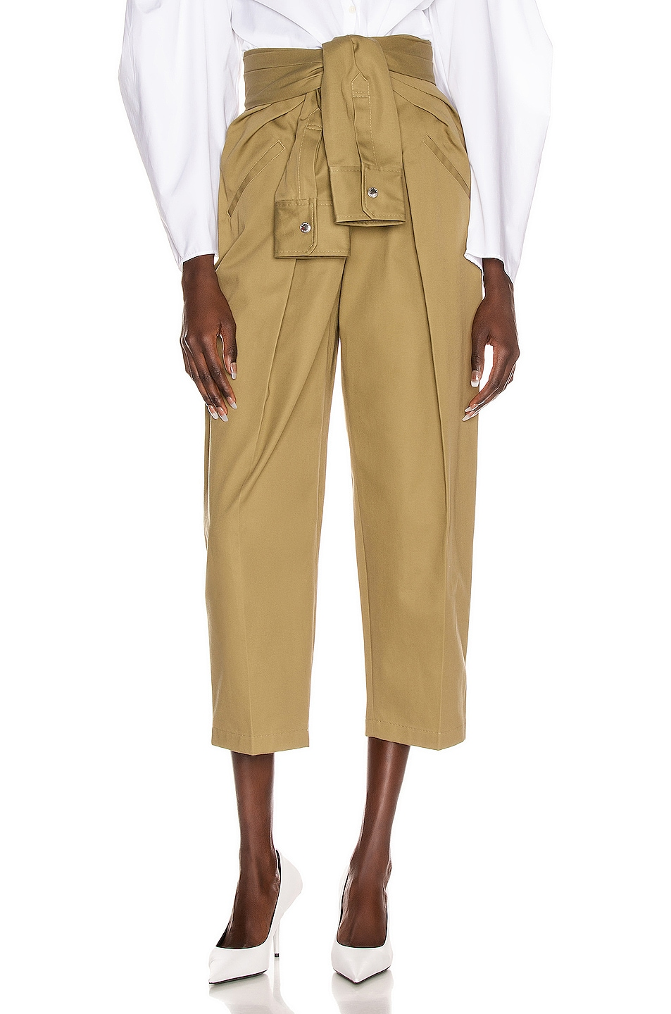 Image 1 of Alexander Wang Tie Front Waist Trouser in Field Green
