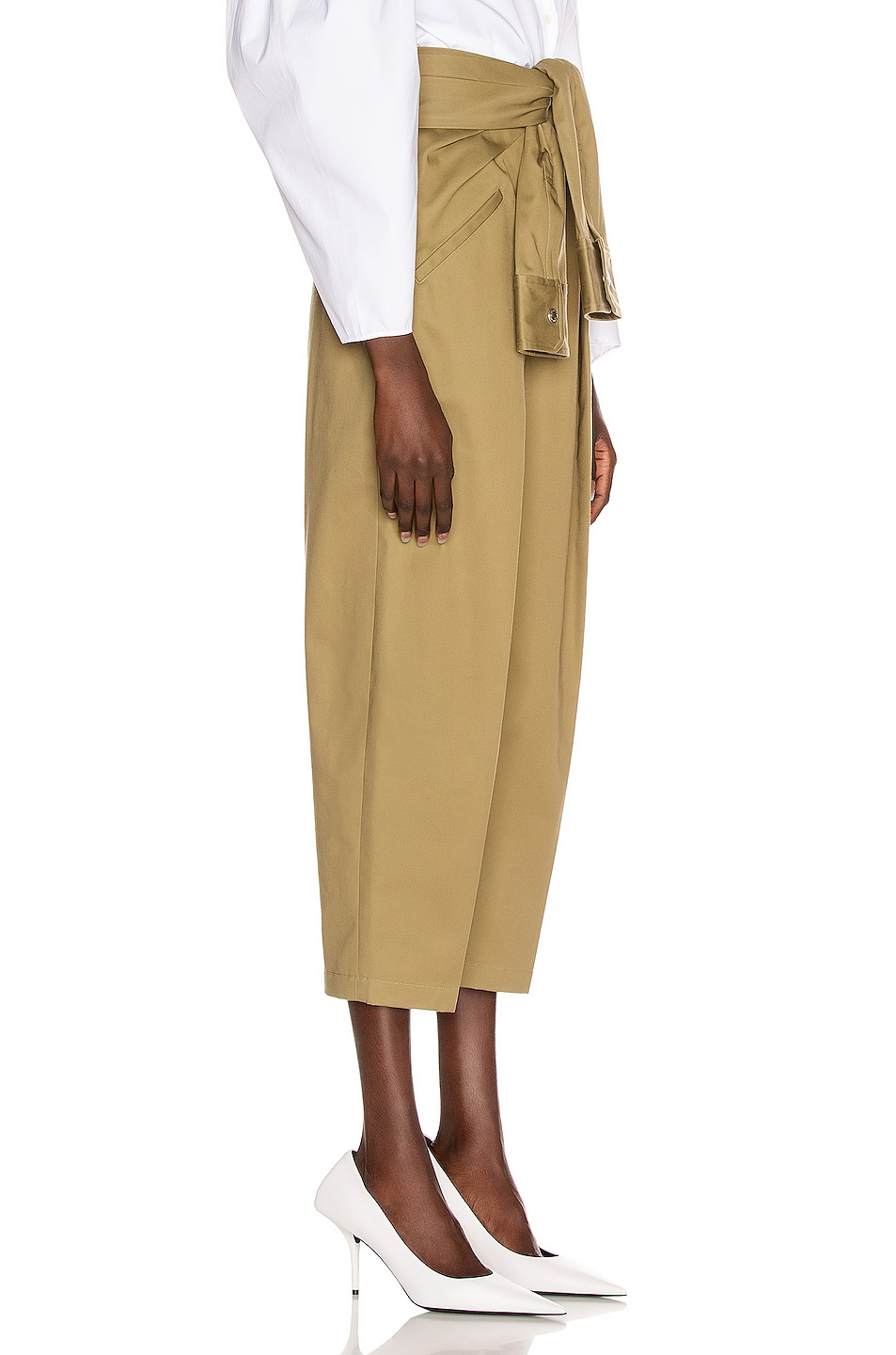 Image 2 of Alexander Wang Tie Front Waist Trouser in Field Green