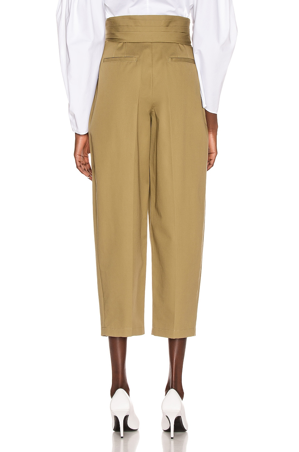 Image 3 of Alexander Wang Tie Front Waist Trouser in Field Green