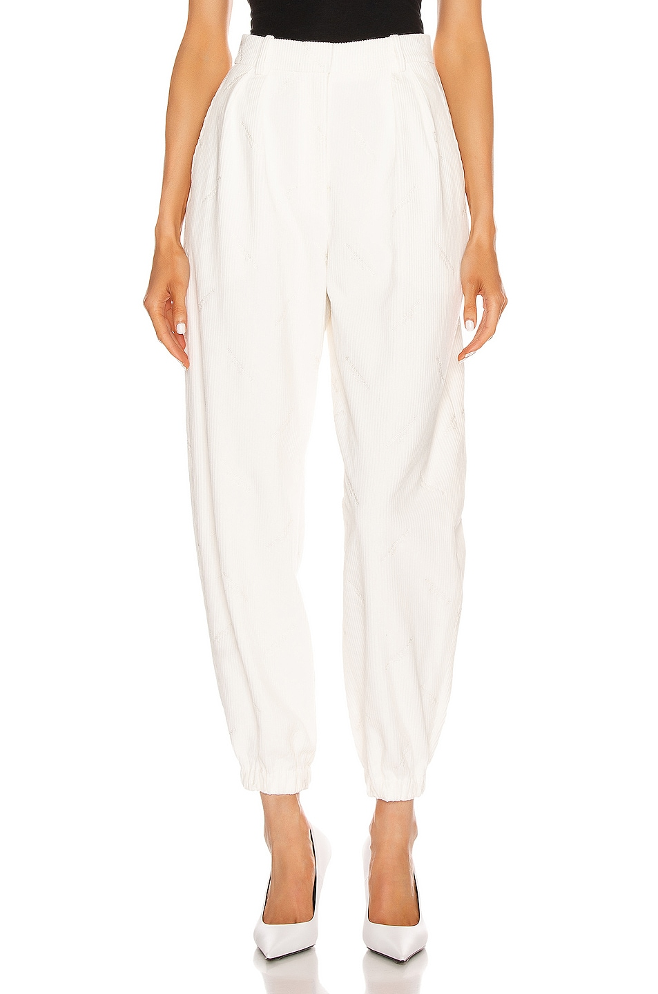 Image 1 of Alexander Wang All Over Embroidery Corduroy Sweatpant in Ivory