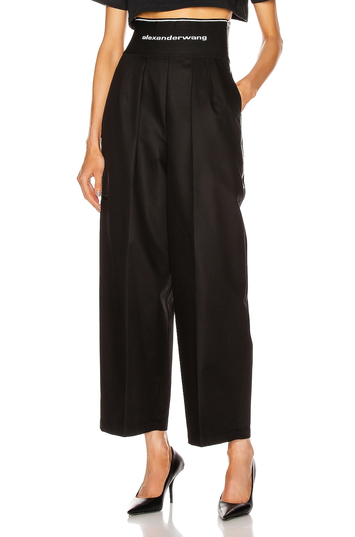Image 1 of Alexander Wang Logo Elastic High Waisted Trouser in Black