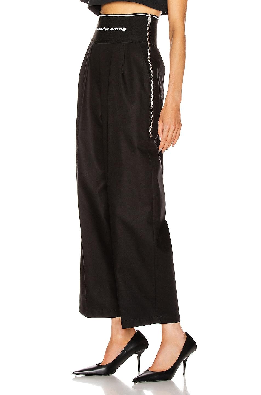 Image 3 of Alexander Wang Logo Elastic High Waisted Trouser in Black