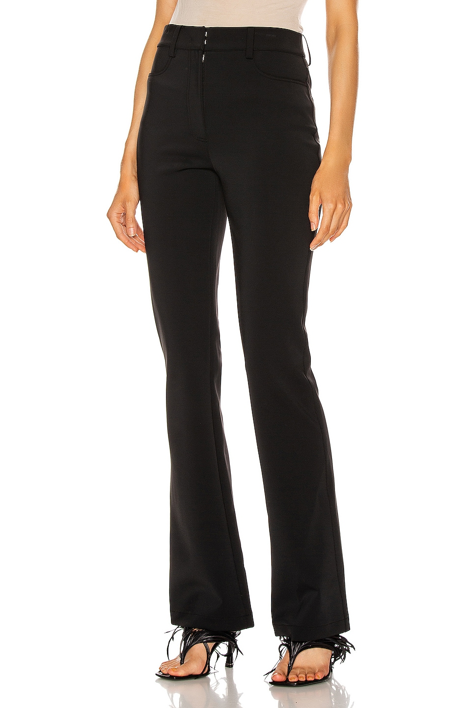 Image 1 of Alexander Wang Mid Rise Flared Leg Trouser in Black
