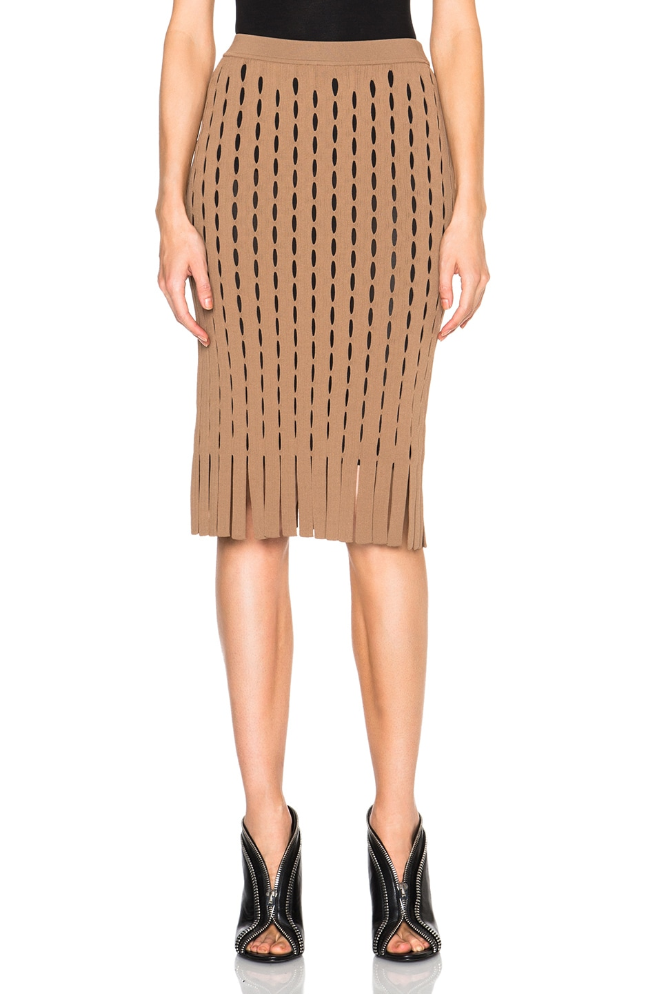 Image 1 of Alexander Wang Fitted Pencil Skirt with Intarsia Split Stripe in Nude