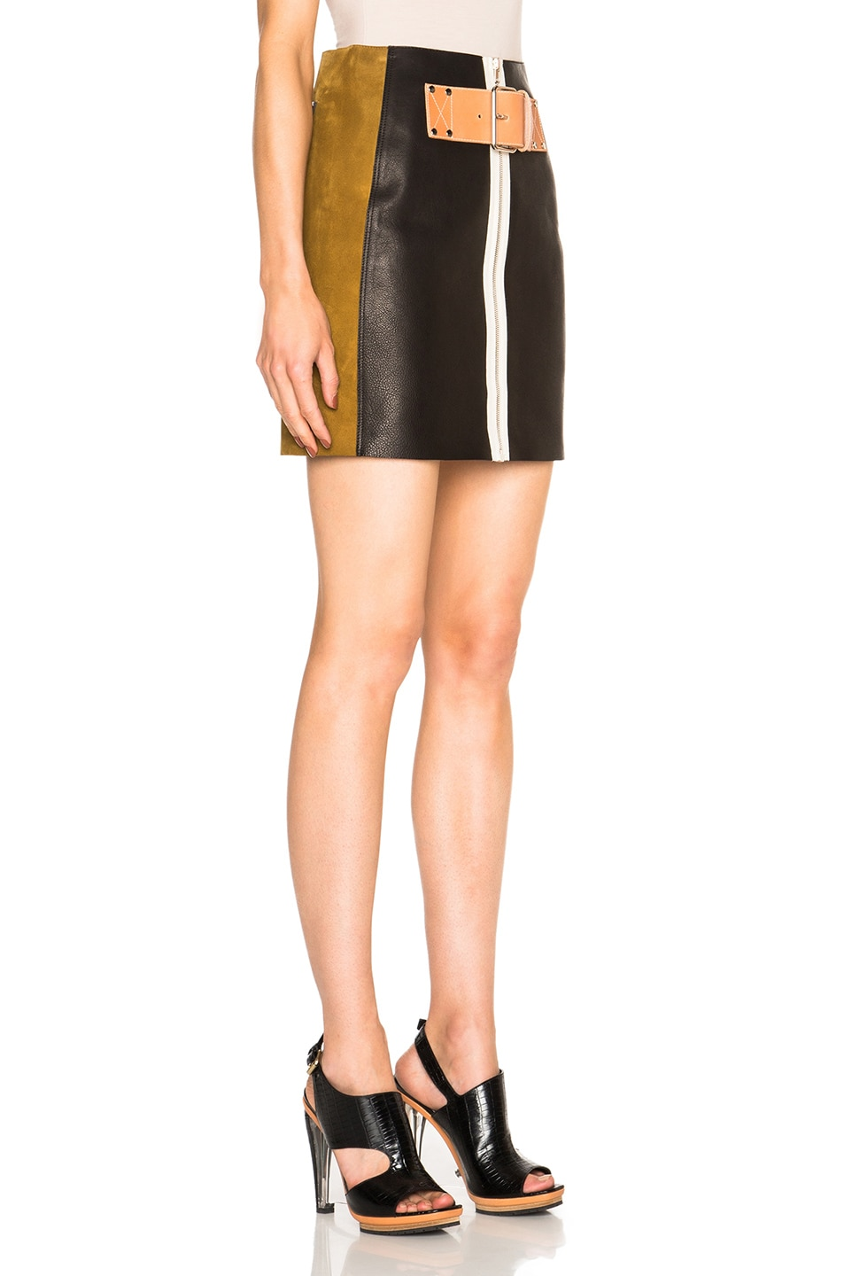 Image 3 of Alexander Wang Patchwork Skirt in Onyx