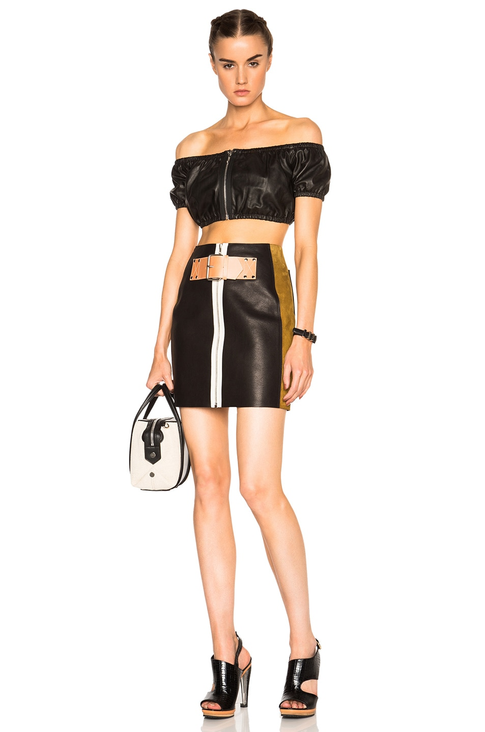 Image 5 of Alexander Wang Patchwork Skirt in Onyx