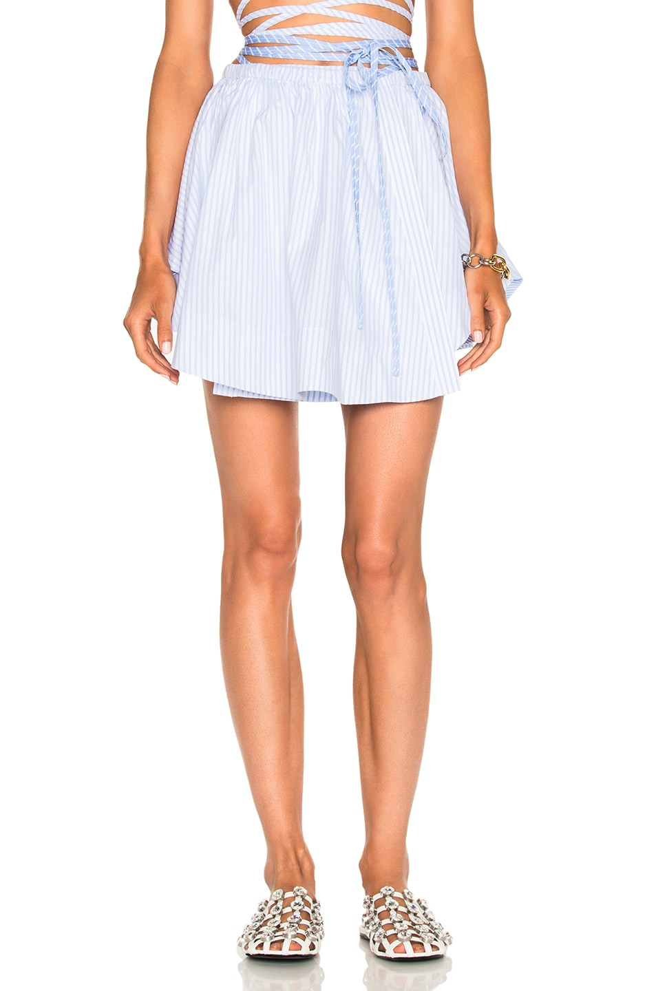Image 1 of Alexander Wang Asymmetric Shirttail Wrap Skirt in Oxford Multi