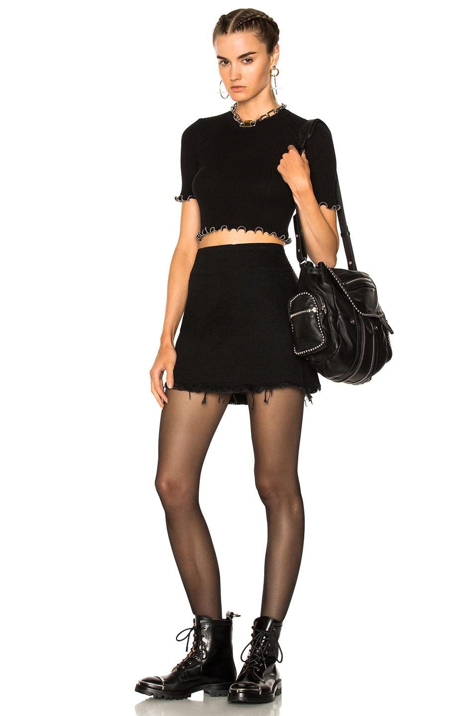 Image 4 of Alexander Wang Zip Mini Skirt in Black Fade