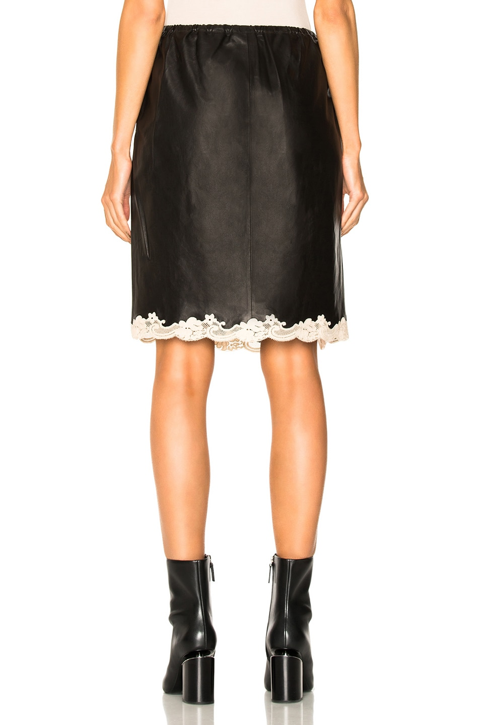 wang above the knee skirt with lace hem in black