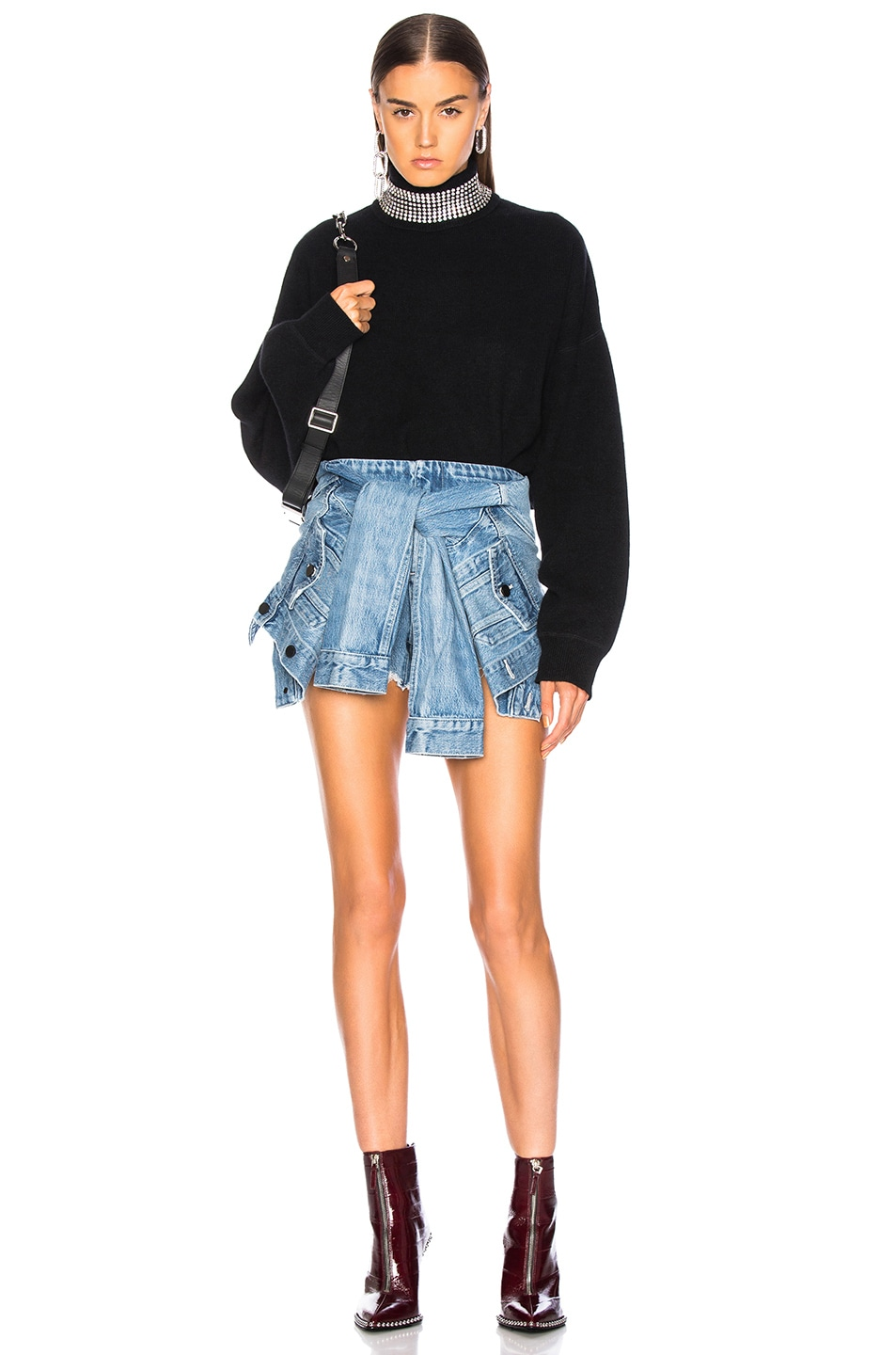 Image 4 of Alexander Wang Sleeve Tie Skort in Vintage Light Indigo