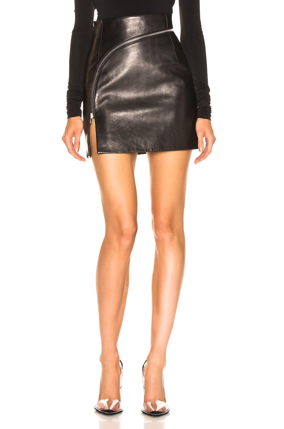 Image 1 of Alexander Wang Leather Zip Detail Mini Skirt in Black
