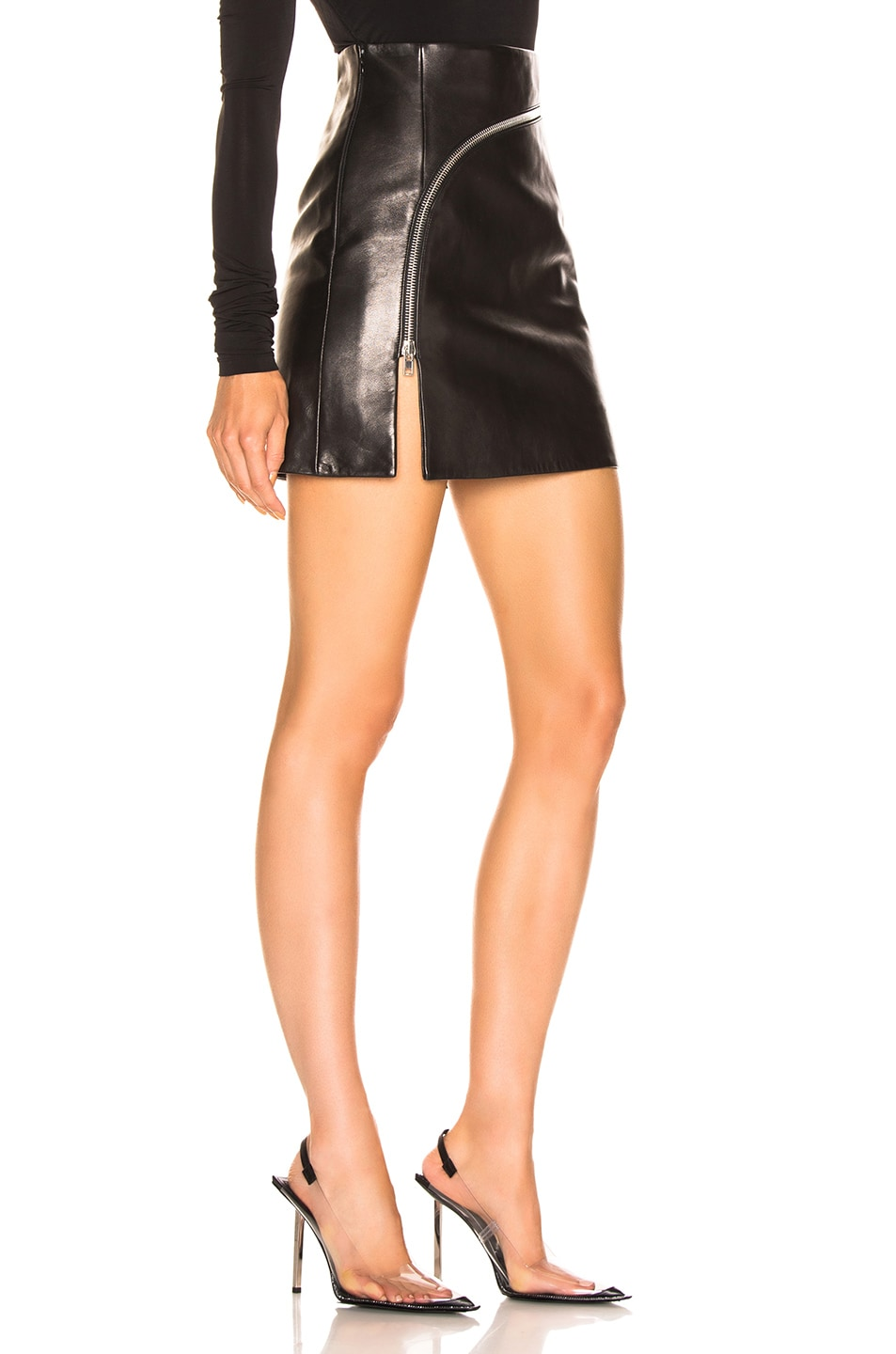 Image 2 of Alexander Wang Leather Zip Detail Mini Skirt in Black