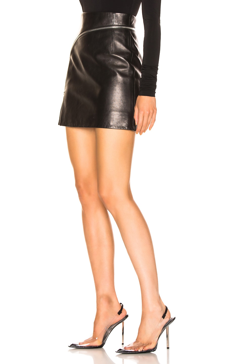 Image 3 of Alexander Wang Leather Zip Detail Mini Skirt in Black
