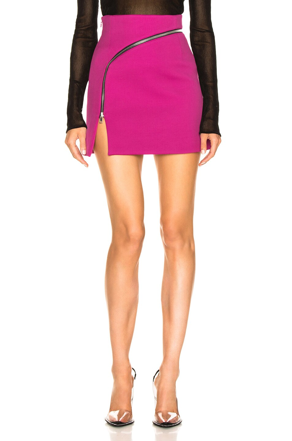 Image 1 of Alexander Wang Zip Detail Mini Skirt in Fuchsia