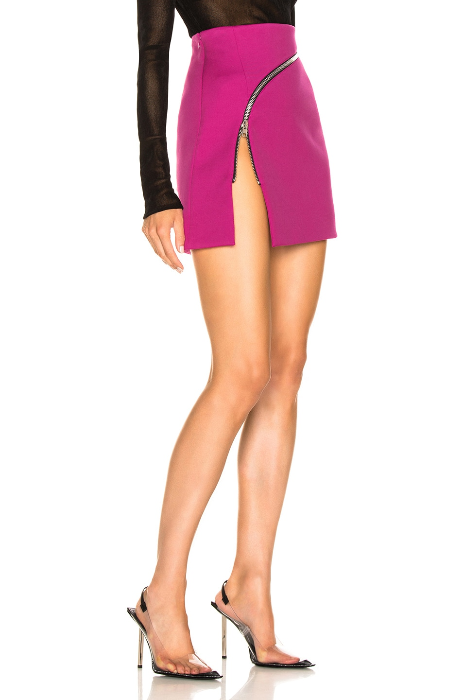 Image 2 of Alexander Wang Zip Detail Mini Skirt in Fuchsia
